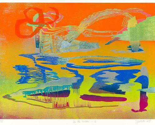 Gabriele Sperlich - Vor den Wassern 2, Farbholzschnitt, 2015