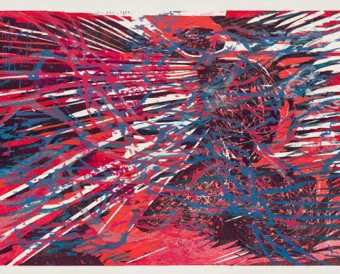 """Gabriele Sperlich - zu R. Kunze """"Nocturne"""", Farbholzschnitt, 2014"""