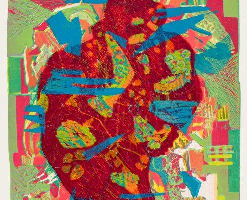 Gabriele Sperlich - zuviel, Farbholzschnitt, 2011
