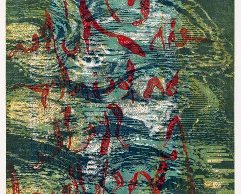 Es gibt ein Außen an keiner Stelle I - 2014; Linolschnitt/-ätzung, Holzschnitt; 95 x 62 cm