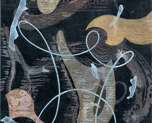 Gedankenspieler - 2013; Fotogramm, Linolschnitt/-ätzung; 63 X 52 cm