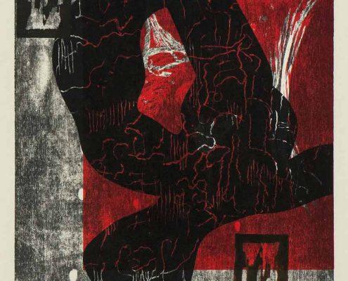 Pensum III 2008/09, Farbholzschnitt mit Haiku (Letterndruck), 61 x 42 cm