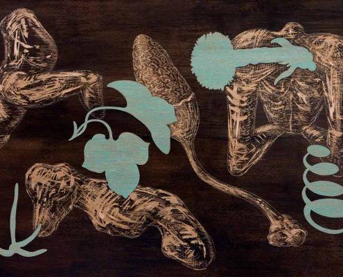 Ausgepflückt - 2004/05, 107 x 157 cm, Holzschnitt und Zeichnung
