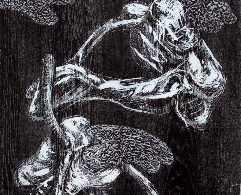 Verwachsen 2005; Holzschnitt, aufgezogen auf Leinwand; 165 x 125 cm
