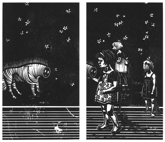 Franca Bartholomäi: INTERMISSUM (Zebra), 2017, Holzschnitt, 30 x 35,5 cm