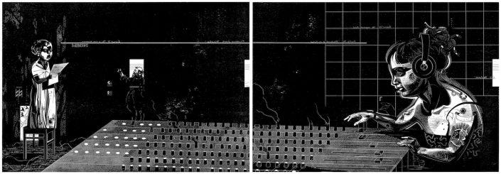 Franca Bartholomäi: SANCTUS (Guido und Cäcilie), 2016, Holzschnitt-Diptychon, 2x 68 x 98 cm